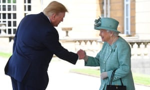 The Queen greets Donald Trump at the ceremonial welcome at Buckingham Palace