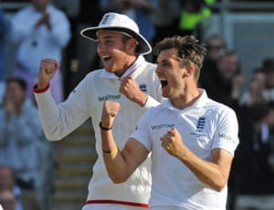 Finn celebrates and Broad after bowling Johnson for 14.