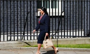 Priti Patel arrives at Number 10 Downing Street.