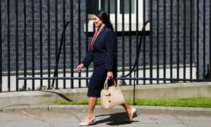 Priti Patel arrives at Downing Street in London