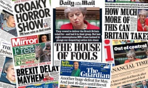 Front pages of the UK papers on 13 March 2019