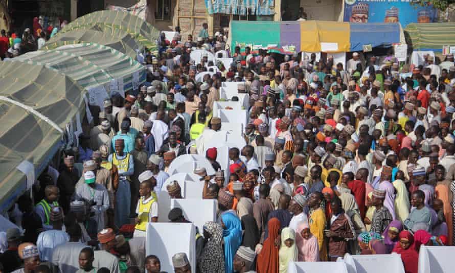 People gather to vote in Maiduguri