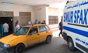 The entrance to the Habib Bourguiba university hospital in Sfax, Tunisia