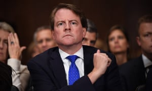 Don McGahn during the US Senate judiciary committee confirmation hearing for Brett Kavanaugh in 2018 on Capitol Hill in Washington DC.