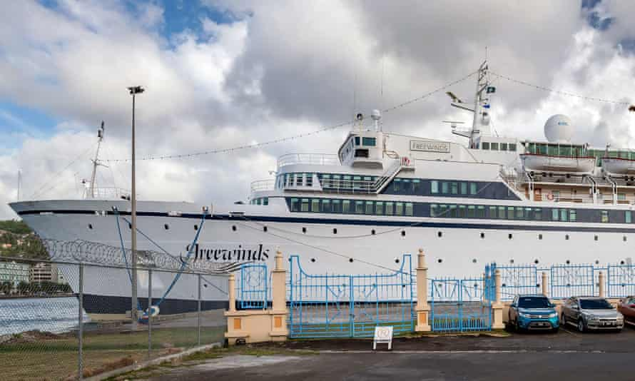 The Freewinds cruise ship owned by the Church of Scientology is seen docked in quarantine at the Point Seraphine terminal in Castries, Saint Lucia.