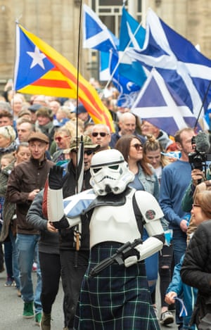 A stormtrooper joins the march on 4 May, which is also known as Star Wars Day