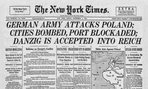 1939 New York Times front page reporting the invasion of Poland by Nazi Germany.