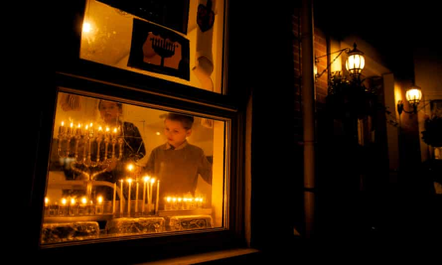 Celebrating Hanukah at a home in Manchester