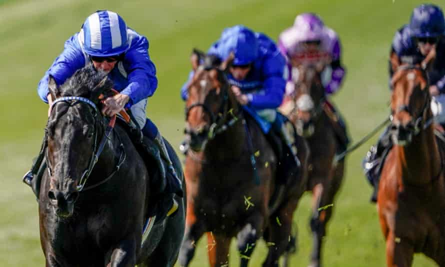 Jim Crowley steers Mutasaabeq to victory at Newmarket in April.
