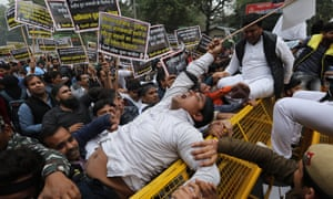 Indian youth congress activists protest near the Pakistan high commission in New Delhi against the deadly militant attack in Kashmir.