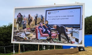 The Cold War Steve and Led By Donkeys collaboration billboard at Glastonbury