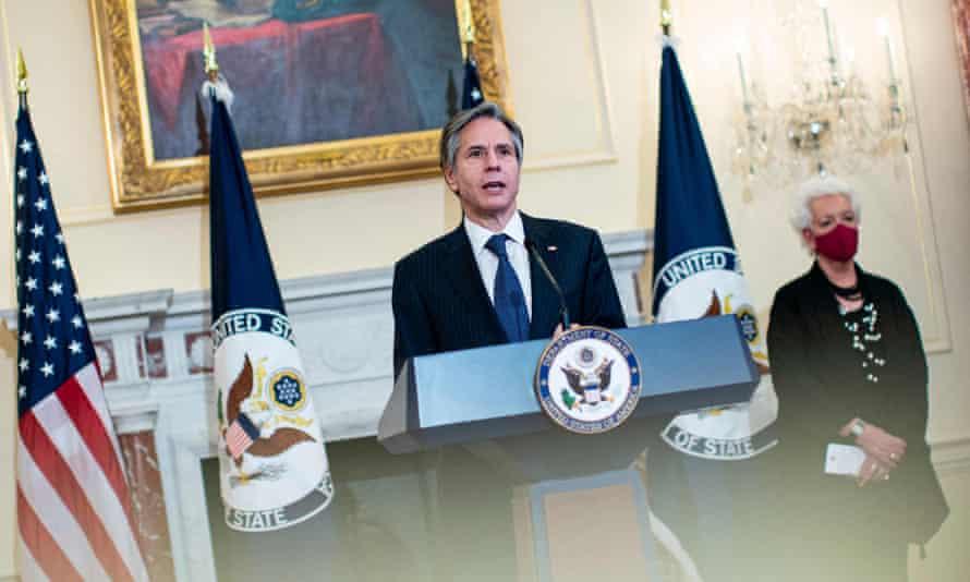 Antony Blinken speaks at the state department in Washington.