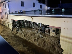 Flood water crushed the wall of a building in Hagen, Germany