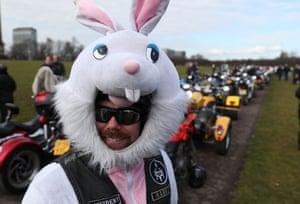 A biker in easter bunny suit