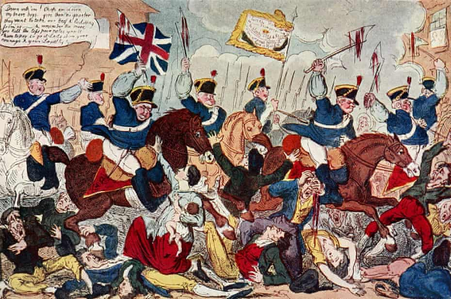 A depiction of the Peterloo Massacre in Manchester in 1819, when cavalry charged on a crowd at a political rally.