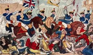 George Cruikshank's cartoon of the Peterloo massacre in 1819.