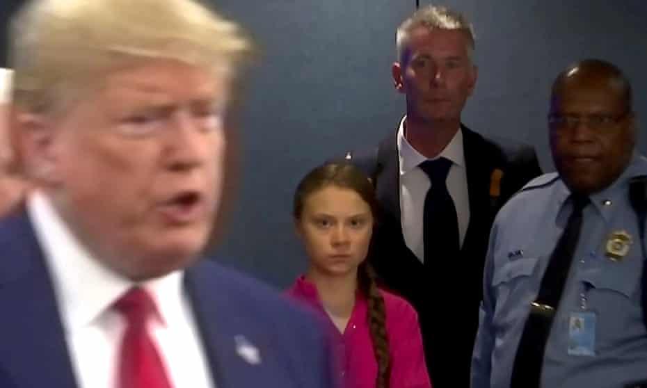 Greta Thunberg glares at Donald Trump at the UN last month.