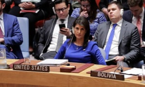 US ambassador to the United Nations, Nikki Haley, during a security council meeting on Sunday at the UN headquarters in New York City.