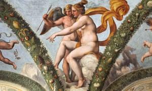 Venus and Cupid fresco by Raphael (1517-18)