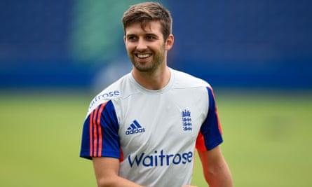 England's Mark Wood enjoys a nets session.
