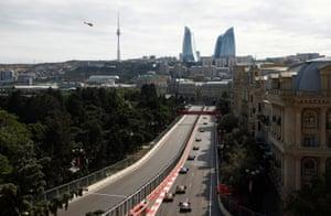 A birds-eye view of the Baku street circuit.
