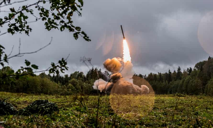A Russian Iskander-M tactical missile: 'Trump's decision, if implemented, fires a starting gun in a second global arms race.'