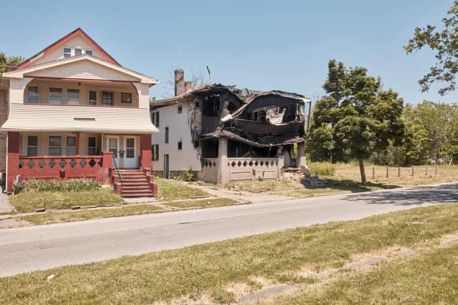 The fire-damaged home of Albert Picket in Cleveland.