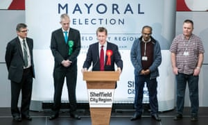 Dan Jarvis making a speech after being elected as the Sheffield city region's mayor