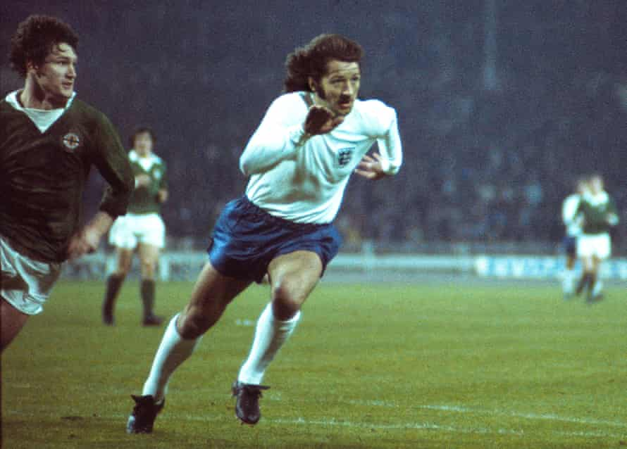 Frank Worthington in action for England against Northern Ireland in May 1974, in what proved his final international appearance.