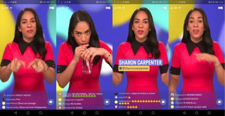 Sharon Carpenter presenting a round of HQ Trivia in the UK
