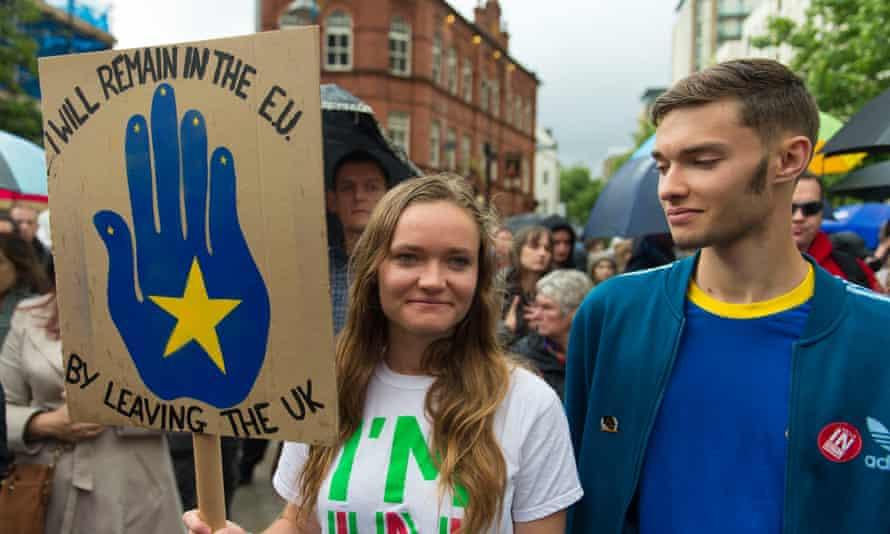 Anti-Brexit protesters in Cardiff.
