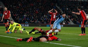 Sergio Aguero turns away after City's second goal.