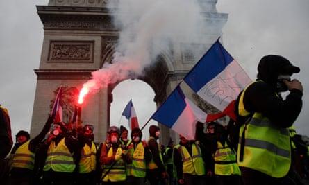 Yellow vests protest in Paris against fuel price rises