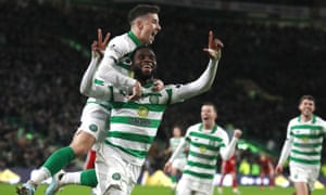 Celtic's Odsonne Édouard, here celebrating a goal against Aberdeen, was the Premiership's best player.
