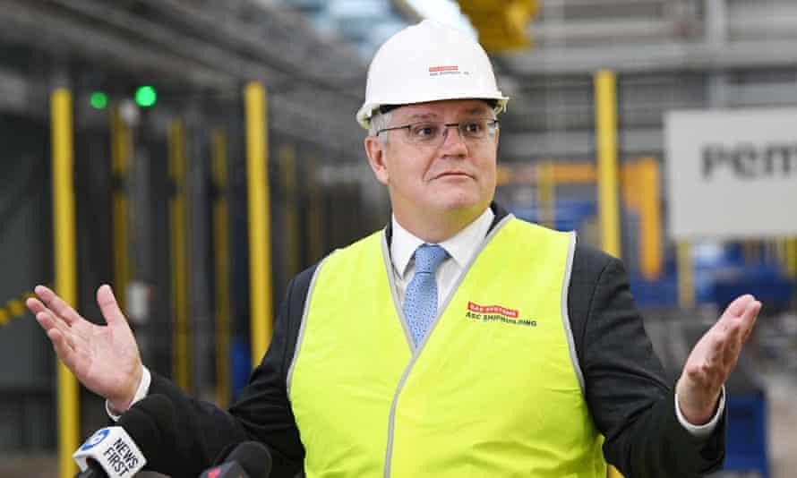 Australian prime minister Scott Morrison during a visit to Osborne Naval Shipyards in Adelaide in September 2020