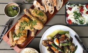 Chicken, salsa verde and salads by Jackie Middleton