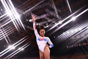 France's Melanie De Jesus Dos Santos competes in the floor event of the artistic gymnastics women's team final