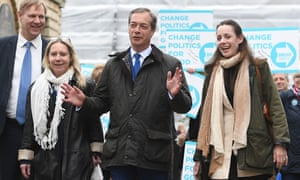 Brexit Party leader Nigel Farage with Jonathan Bullock, Tracey Knowles and Annunziata Rees-Mogg