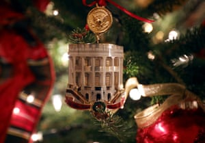 The White House Historical Association's official 2018 Christmas ornament on a tree in the library
