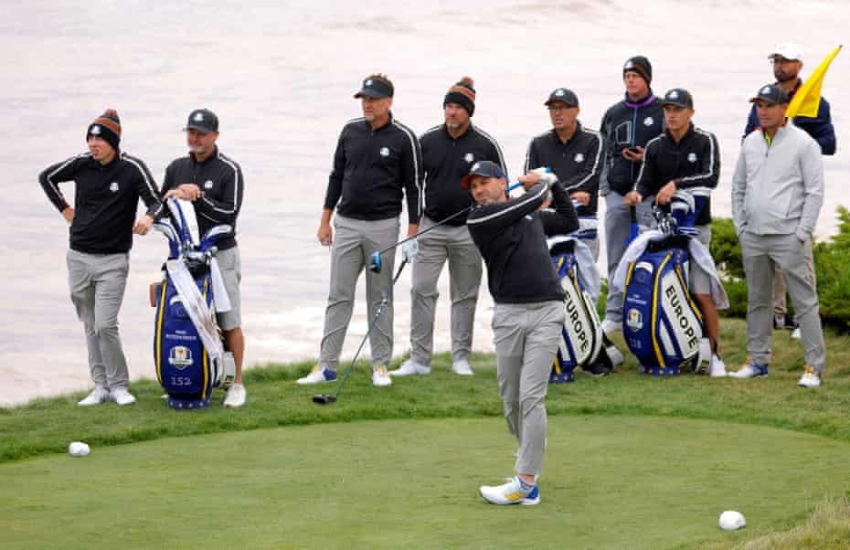 The European team faces the first hole at Whistling Straits before the big day arrives.