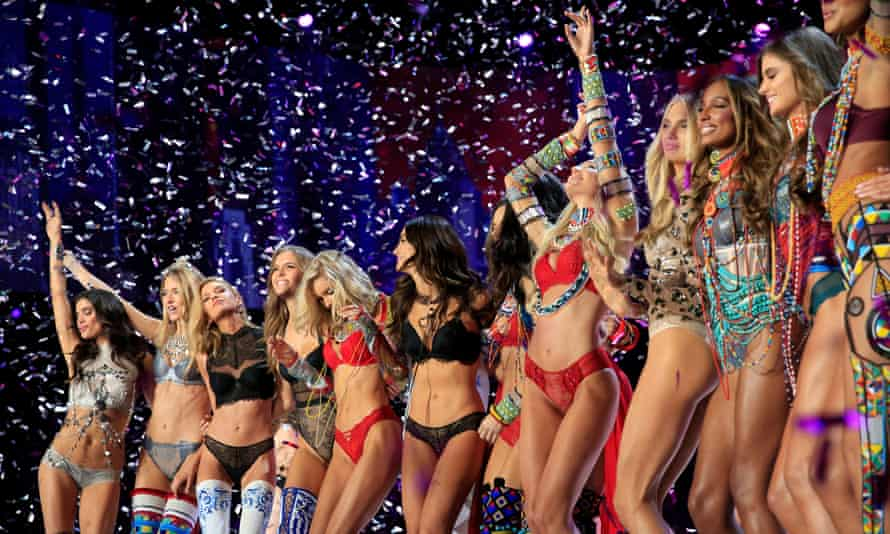 Models celebrate at the end of the 2017 Victoria's Secret fashion show in Shanghai, China, this month.