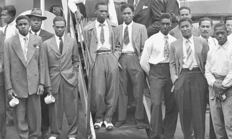Jamaicans arrive to work in Britain at Tilbury, 1948.