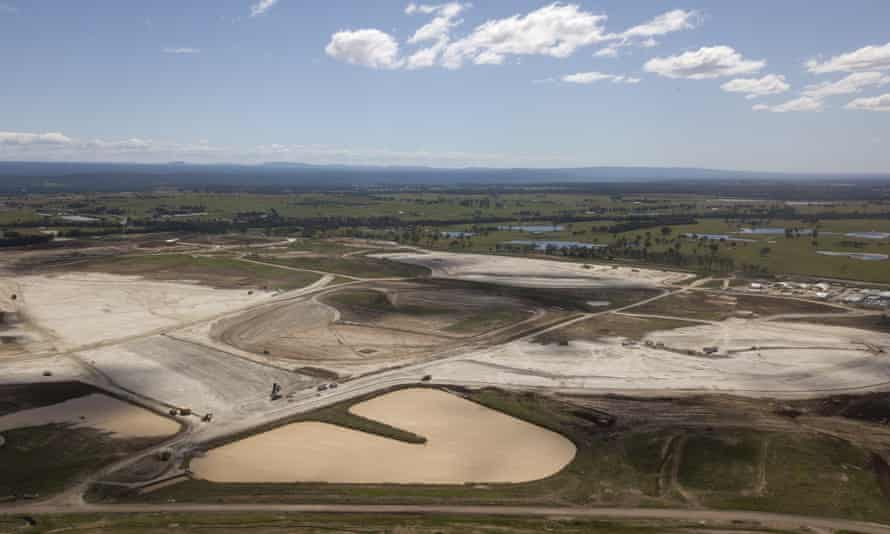 An aerial view of the construction work at the Western Sydney airport.