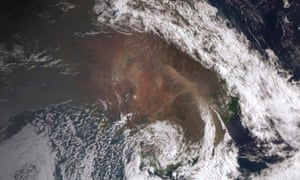 Satellite view showing a dust storm moving across the New South Wales.