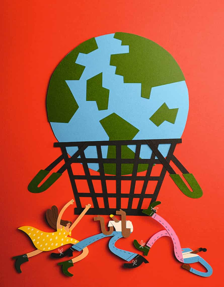 Paper illustration, the issue with shopping and the balance of economy vs environment