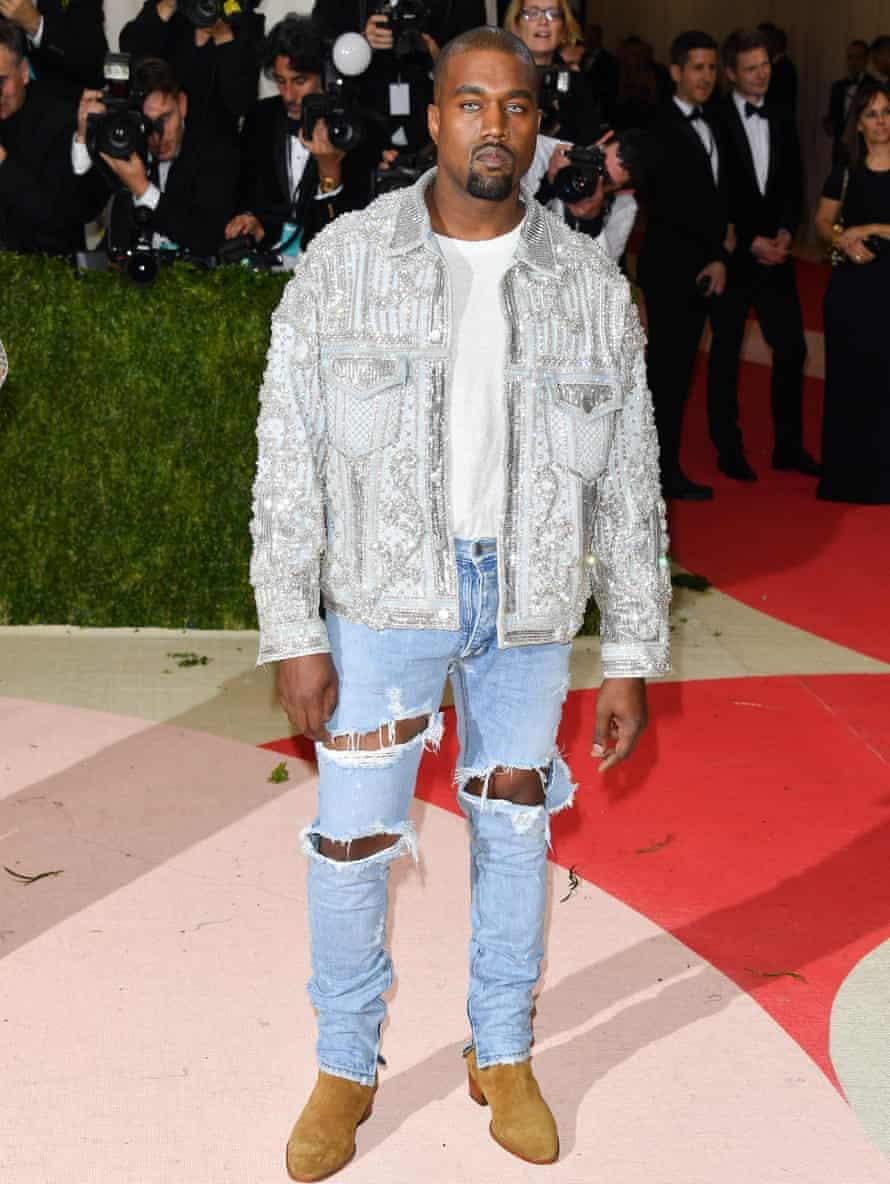 Kanye West's sky blue look.