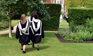 Students celebrate their graduation at Cambridge University