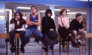 Judd Nelson, Emilio Estevez, Ally Sheedy, Molly Ringwald, Anthony Michael Hall in The Breakfast Club, 1985.