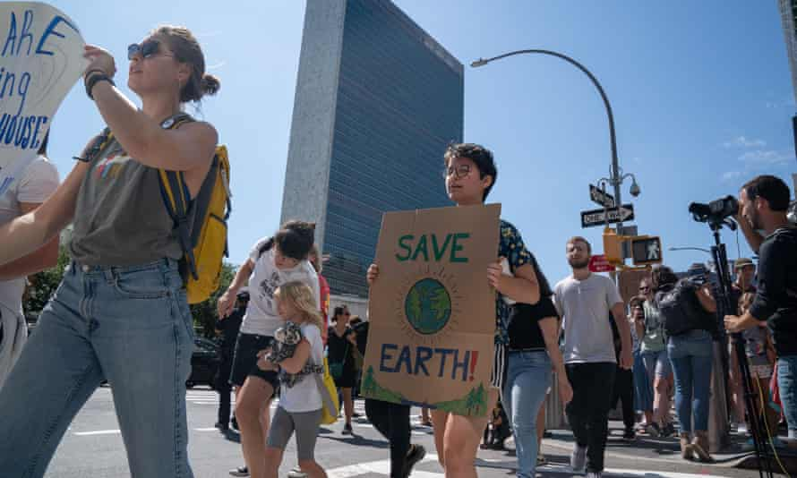 Climate emergency protesters assemble outside the UN climate summit.