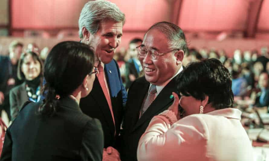 US secretary of state, John Kerry, talks with China's special representative on climate change Xie Zhenhua